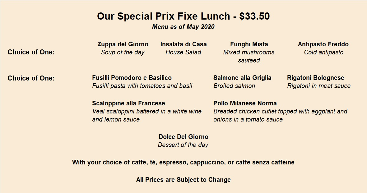 Prixfixe Lunch Menu